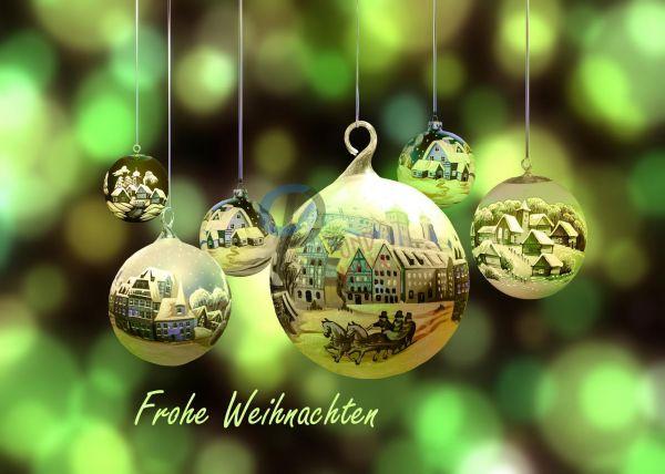 202- Weihnachtskarte Kugeln grün