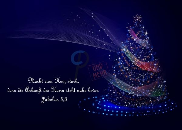 205- Weihnachtskarte blau Jakobus 5,8