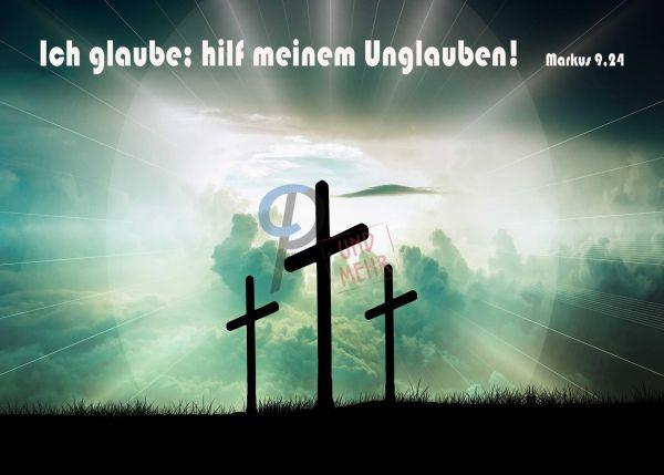 743 - Jahreslosung 2020 - Kreuzsilhouetten blau-grün